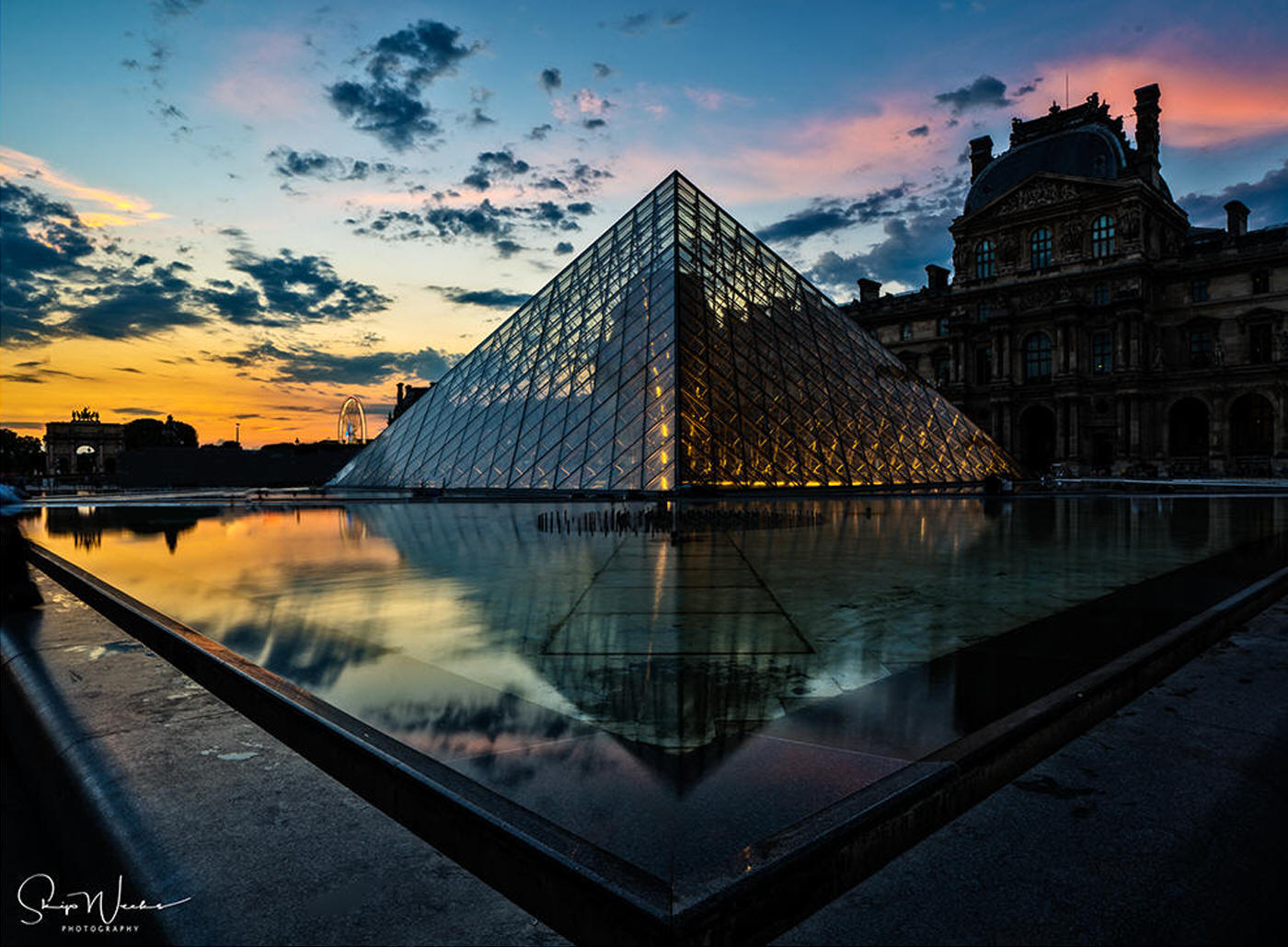 Pyramide du Louvre at Dusk by Skip Weeks